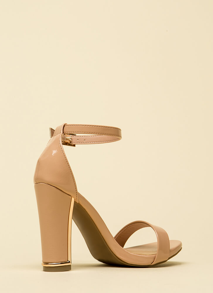 Shine A Little Strappy Faux Patent Heels NUDE
