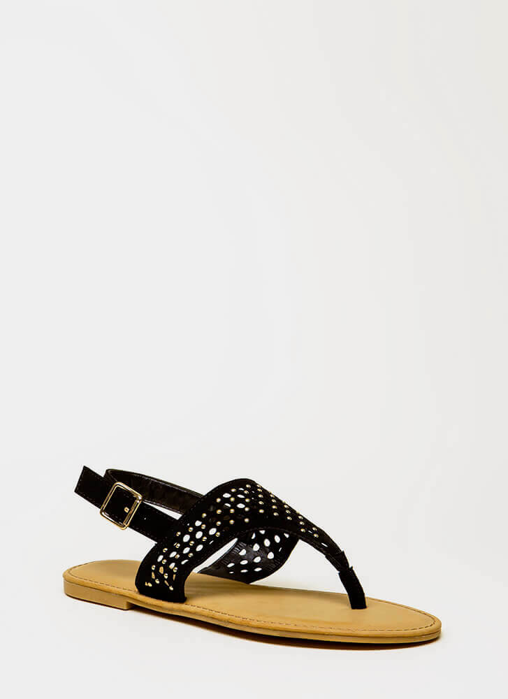 Holey Grail Studded Cut-Out Sandals BLACK