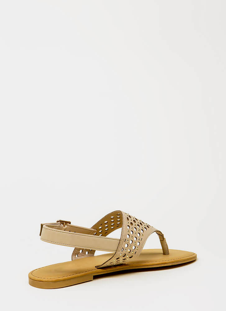 Holey Grail Studded Cut-Out Sandals NUDE