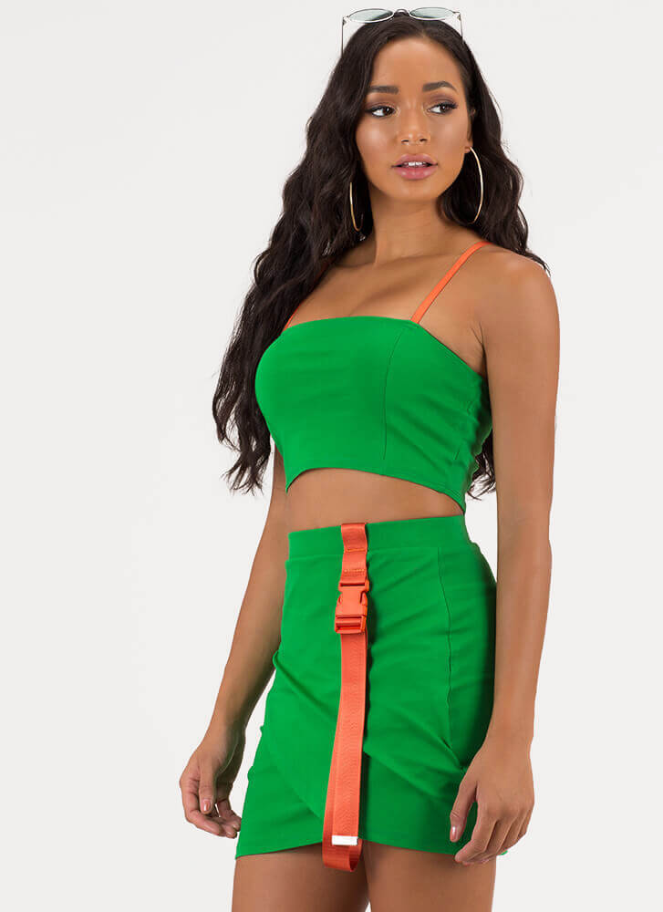 Buckle Up Strappy Top And Skirt Set GREEN