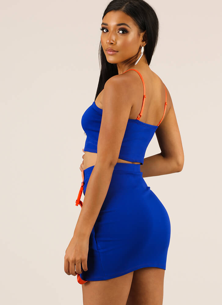 Buckle Up Strappy Top And Skirt Set ROYAL