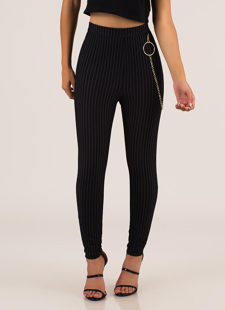 Ring Leader Chained Pinstriped Pants BLACK
