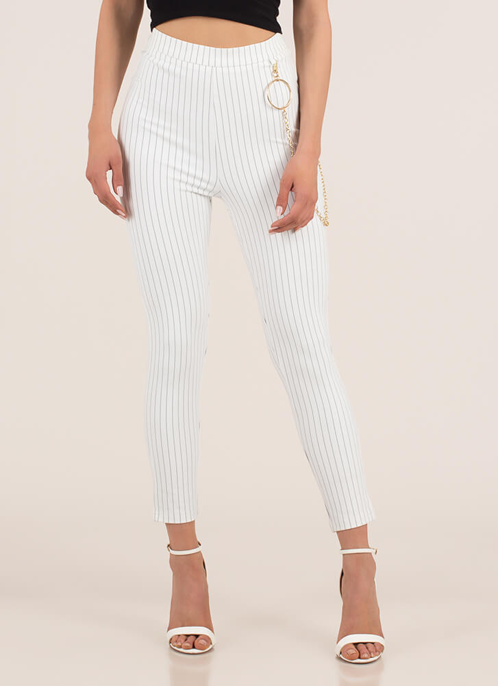 Ring Leader Chained Pinstriped Pants WHITE (Final Sale)