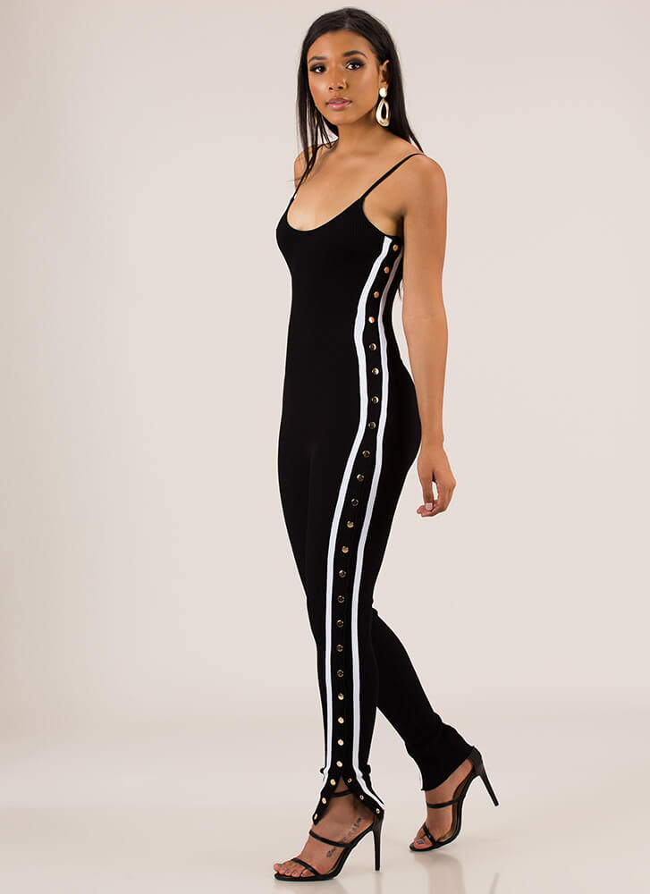 Oh Snap Striped Buttoned Jumpsuit BLACK