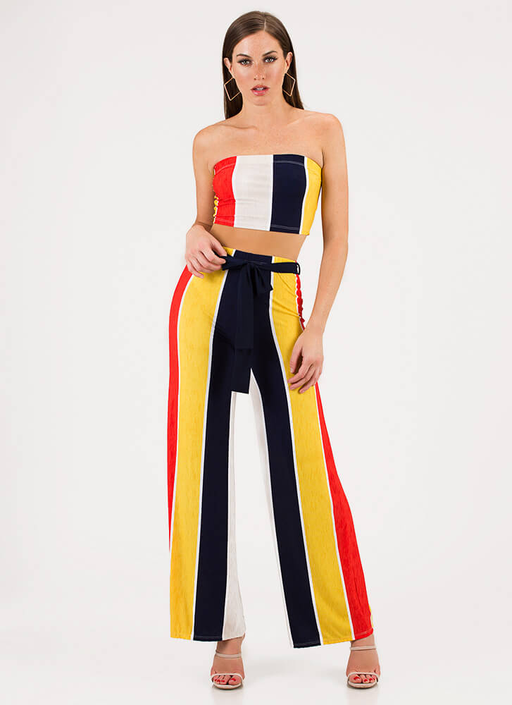 Cuter In Colorblock Top And Pant Set MULTI