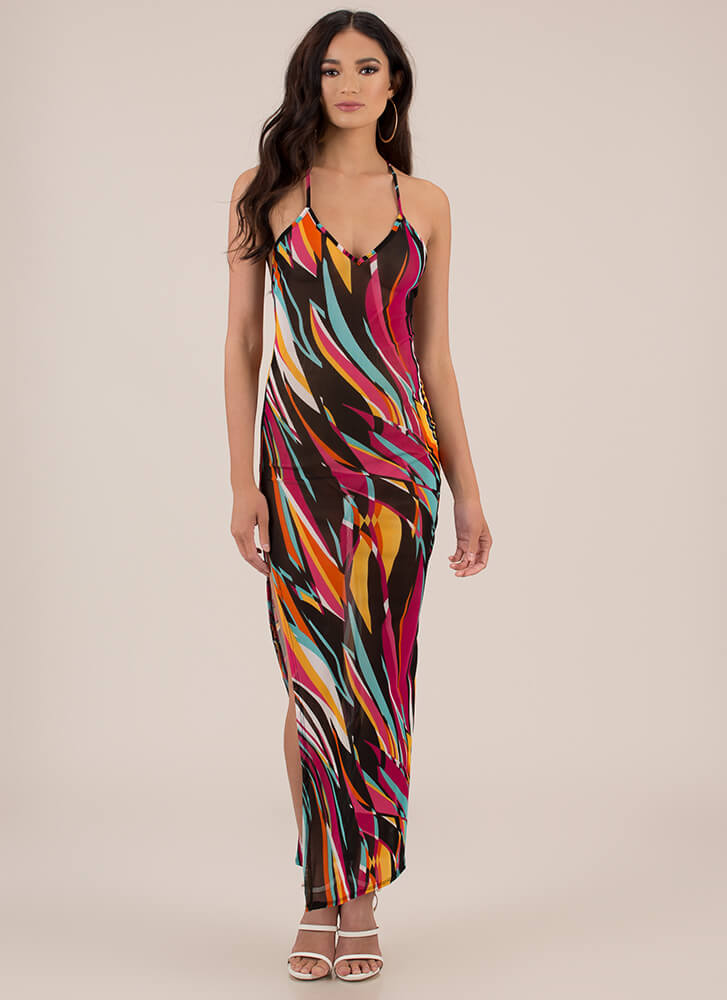 Swirly Statement Mesh Maxi Dress MULTI