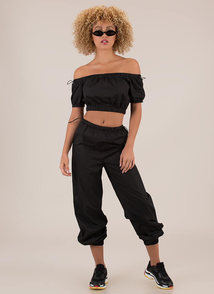 It Toggles My Mind Top And Jogger Set BLACK