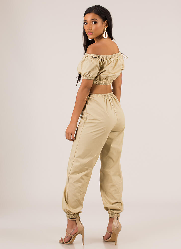 It Toggles My Mind Top And Jogger Set TAUPE