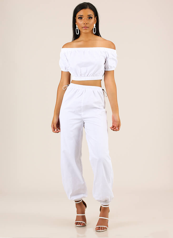 It Toggles My Mind Top And Jogger Set WHITE (You Saved $34)