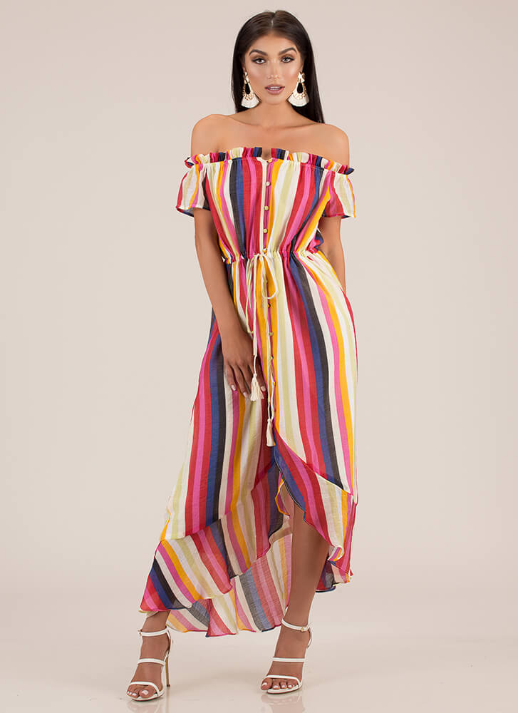 Fiesta Striped Off-Shoulder Maxi Dress MULTI