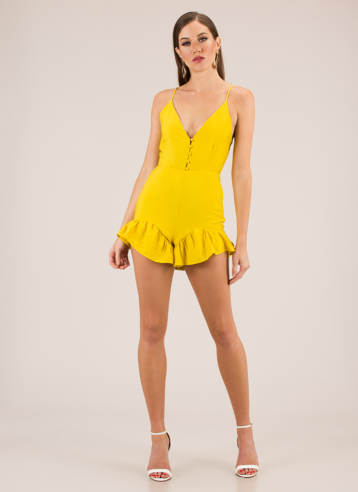 What A Frill Ruffled Tie-Back Romper MUSTARD