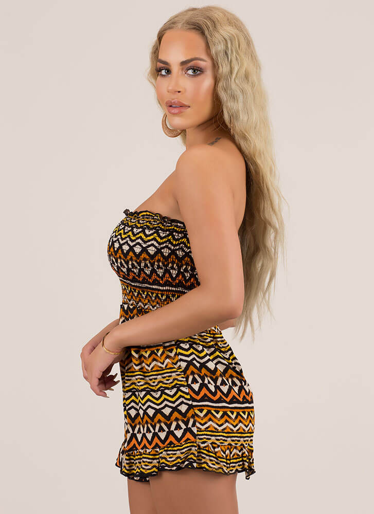 Tribal Council Strapless Ruffled Romper BROWN (Final Sale)