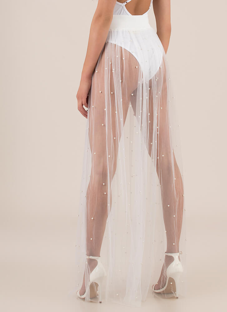 Be Delicate Sheer Faux Pearl Maxi Skirt WHITE