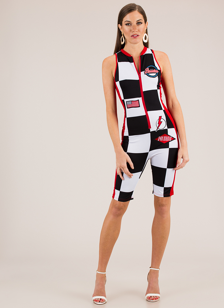 Race Yourself Checkered Jumpsuit BLACK