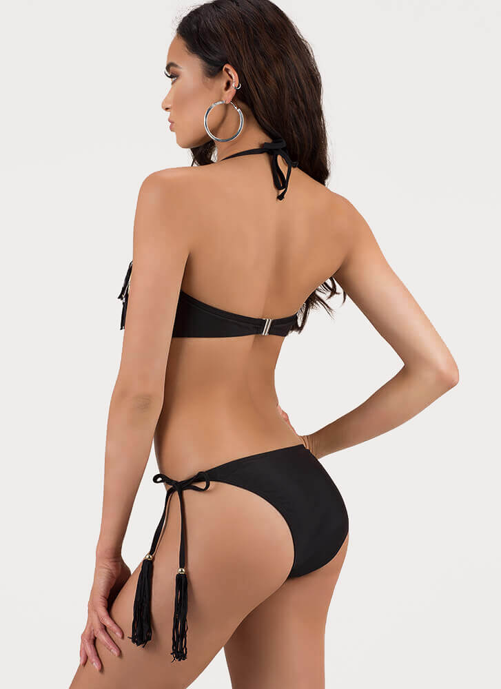 Fringe And Tassels Bandeau Bikini Set BLACKGOLD (Final Sale)