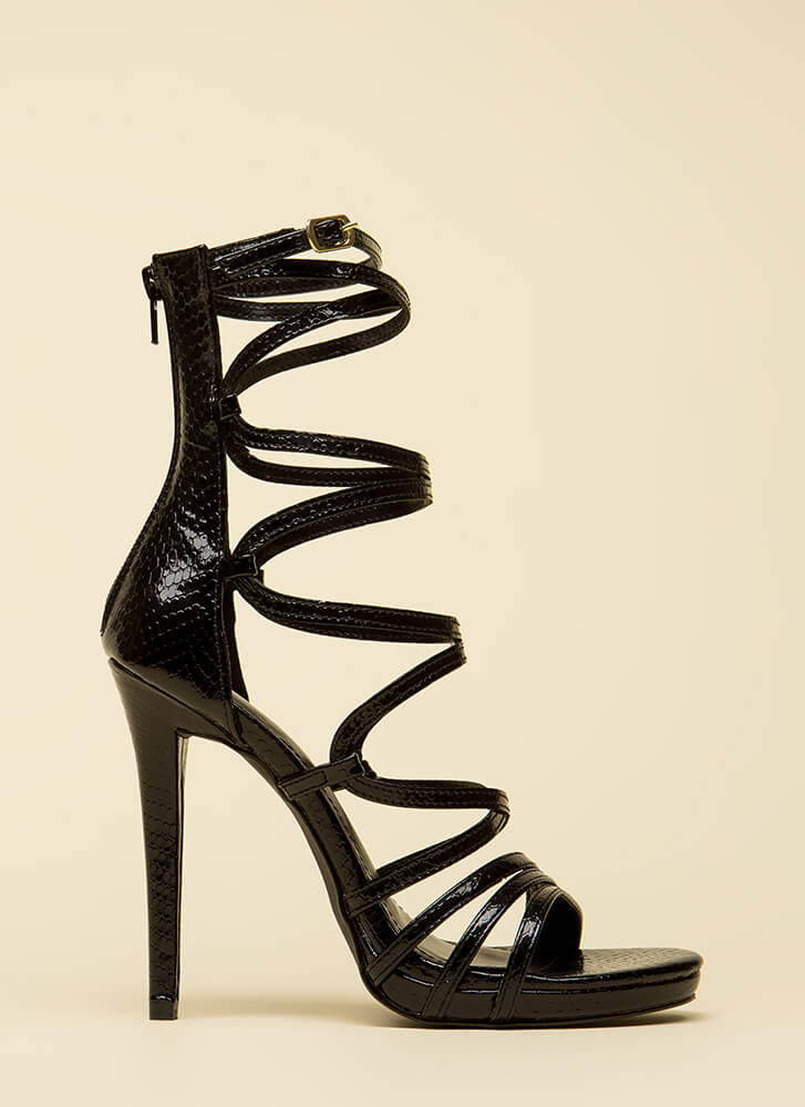 High And Mighty Strappy Caged Heels BLACK