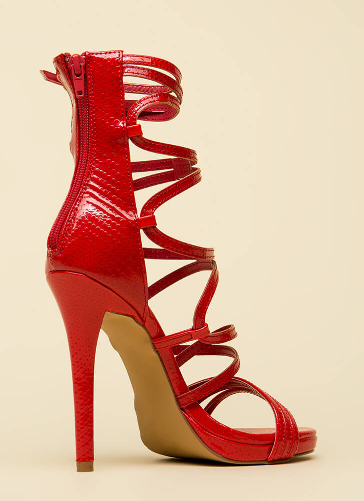High And Mighty Strappy Caged Heels RED