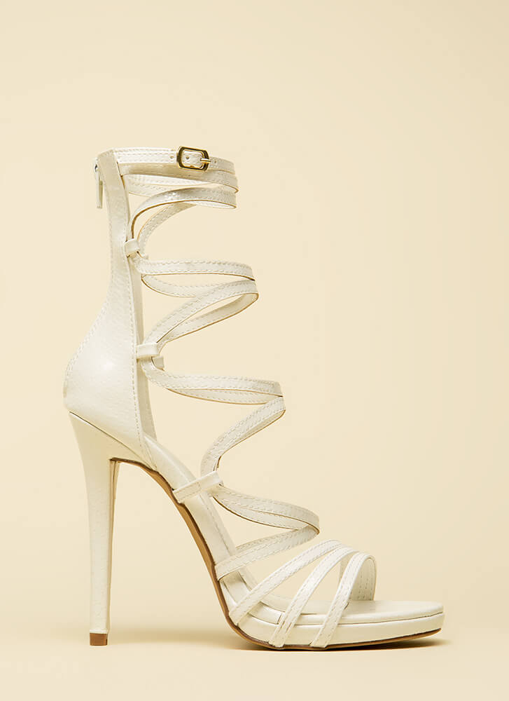 High And Mighty Strappy Caged Heels WHITE