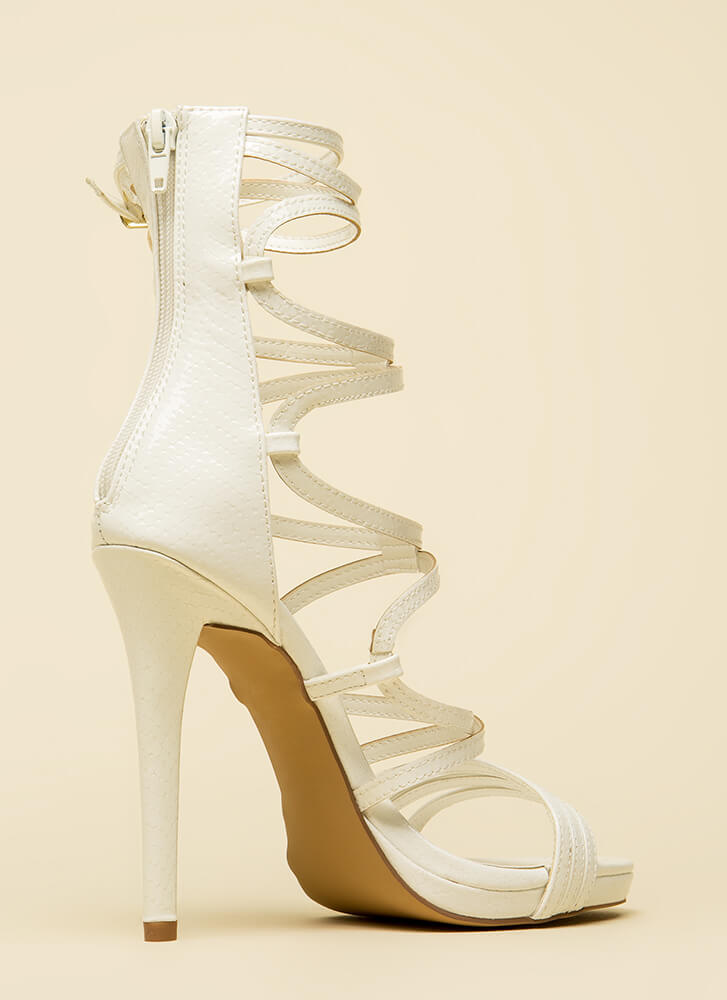 High And Mighty Strappy Caged Heels WHITE (Final Sale)