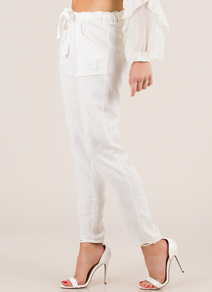 Mediterranean Vacation Tied Linen Pants WHITE