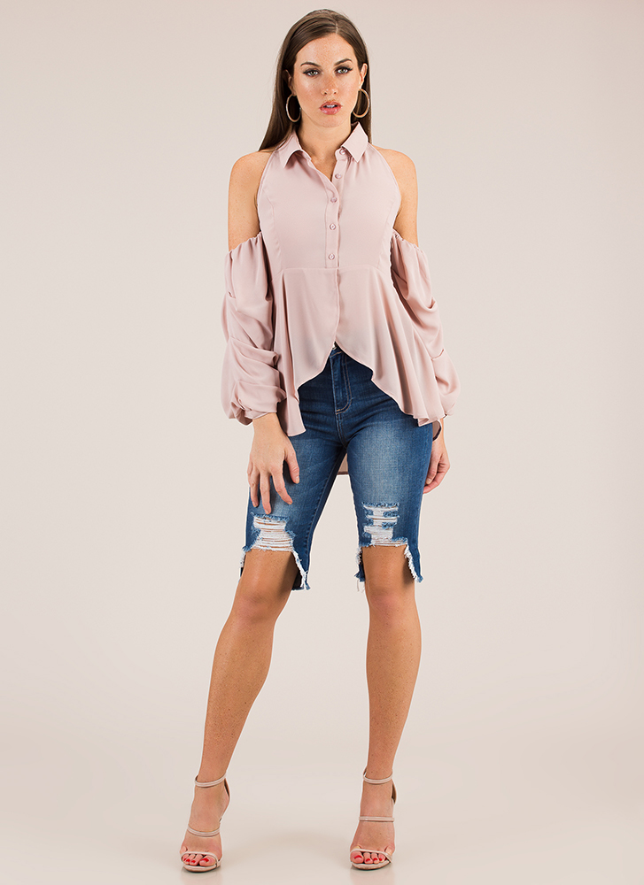 Romance Isn't Dead Puffy Sleeve Blouse TAUPE