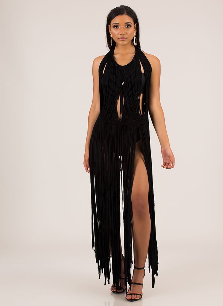 Pull Some Strings Fringed Halter Maxi BLACK