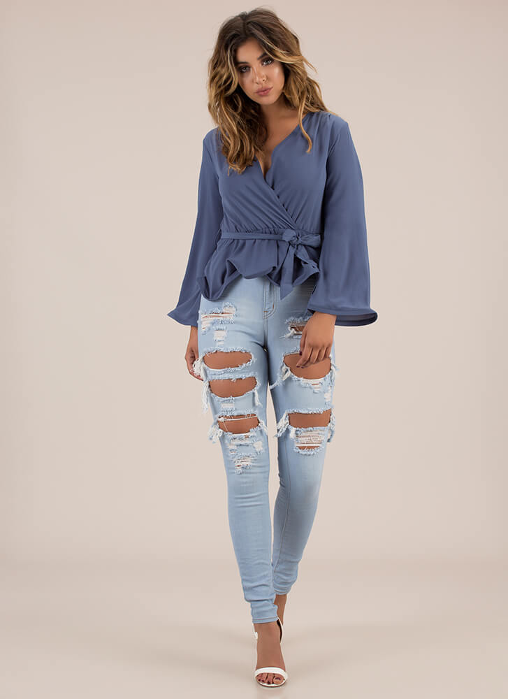 Fashion Forward Frilly Tied Peplum Top BLUE