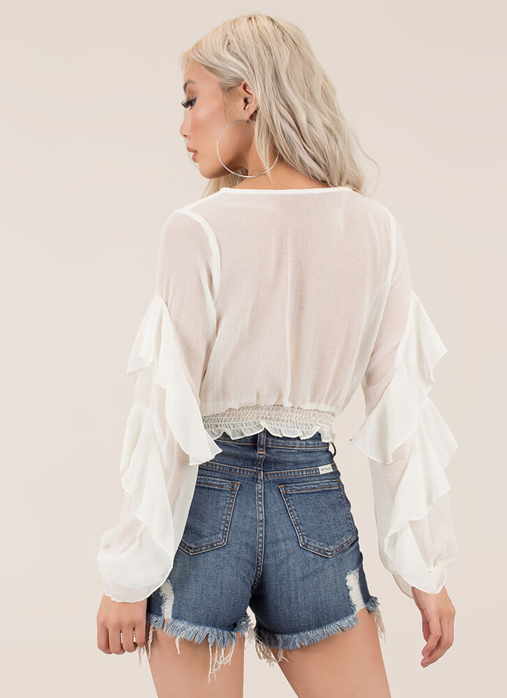 Frilling Good Ruffled Crop Top WHITE