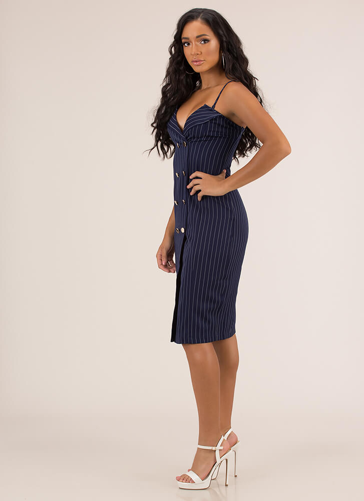 It Suits You Pinstriped Midi Dress NAVY
