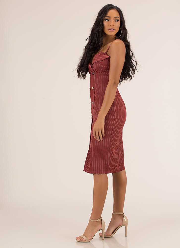It Suits You Pinstriped Midi Dress RUST