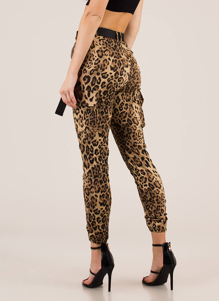Wild Guess Belted Leopard Print Joggers LEOPARD