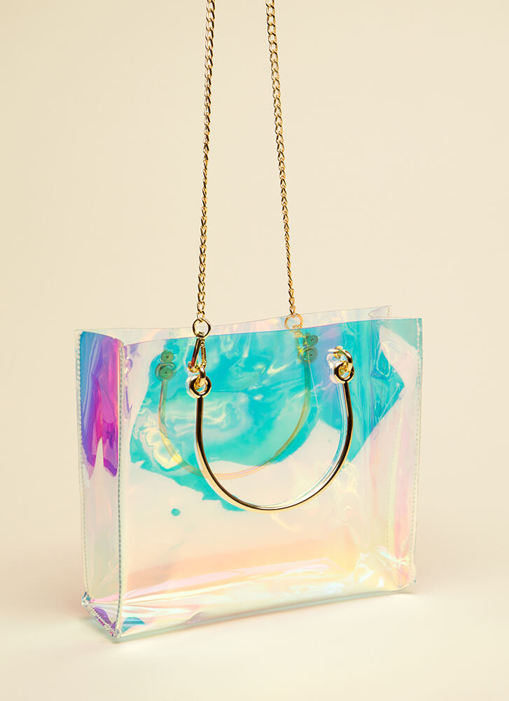 Clear As Day Holographic 2-Piece Tote ORANGE
