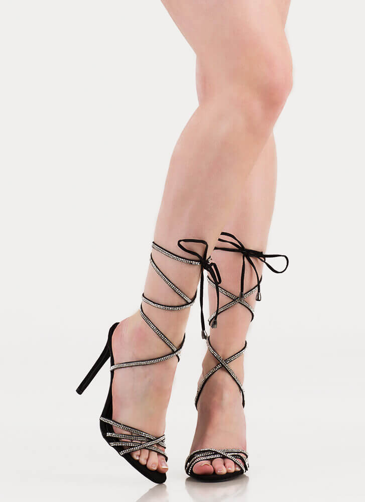 Shine Strappy Jeweled Lace-Up Heels BLACK