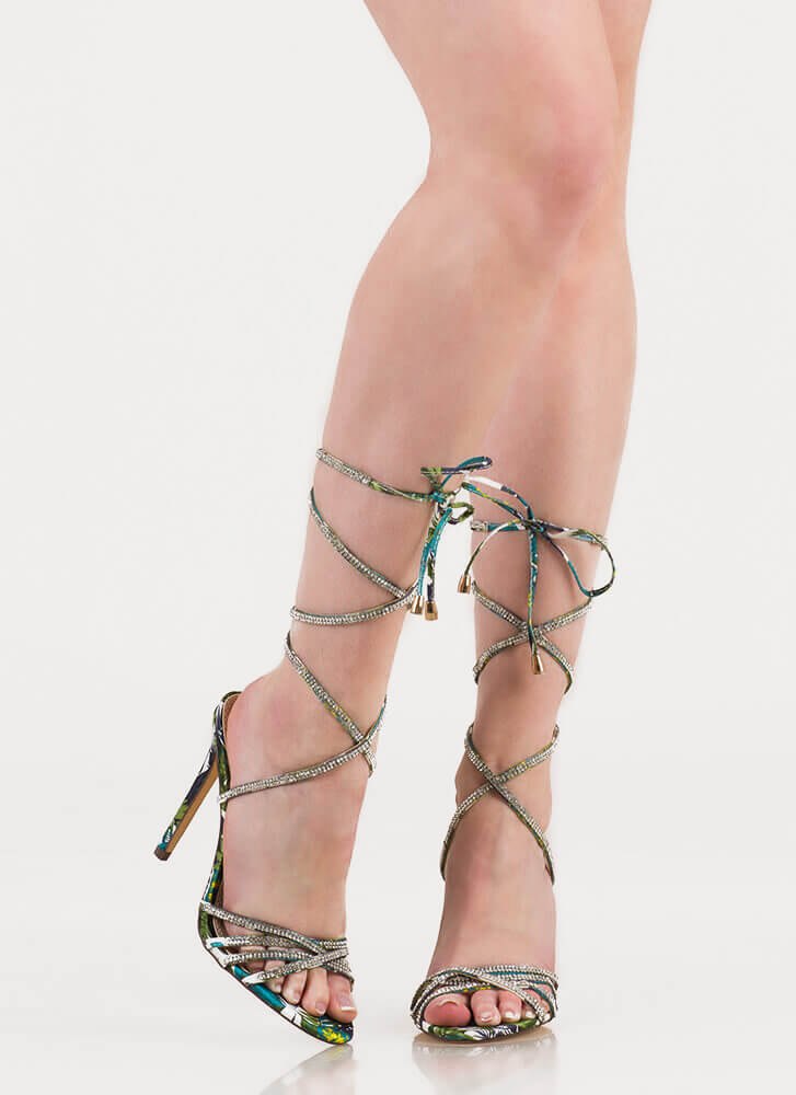 Shine Strappy Jeweled Lace-Up Heels MULTI
