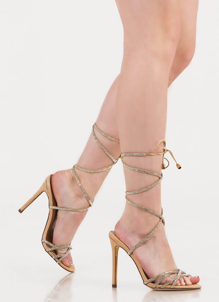 Shine Strappy Jeweled Lace-Up Heels NUDE