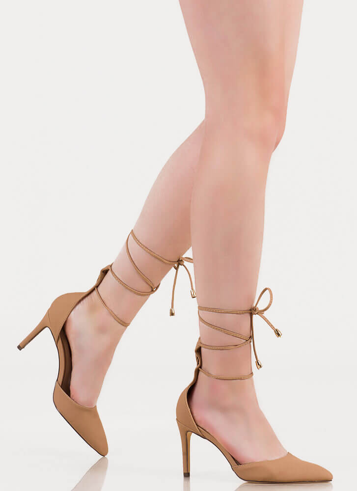 Ready And Willing Pointy Lace-Up Heels NUDE