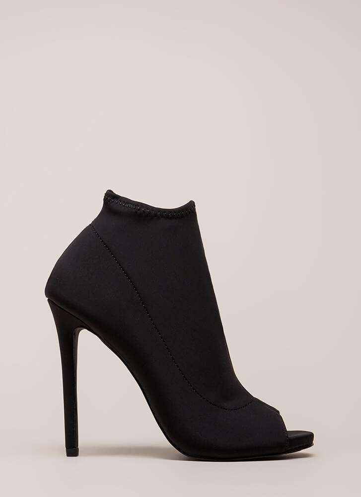 You're Covered Peep-Toe Stiletto Booties BLACK (Final Sale)