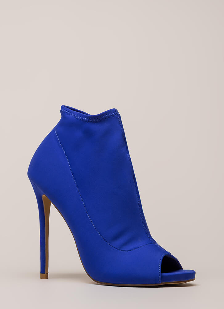You're Covered Peep-Toe Stiletto Booties BLUE