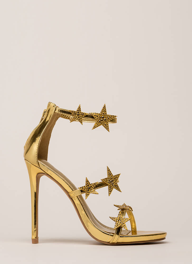 Star-Studded Jeweled Strappy Heels GOLD (Final Sale)