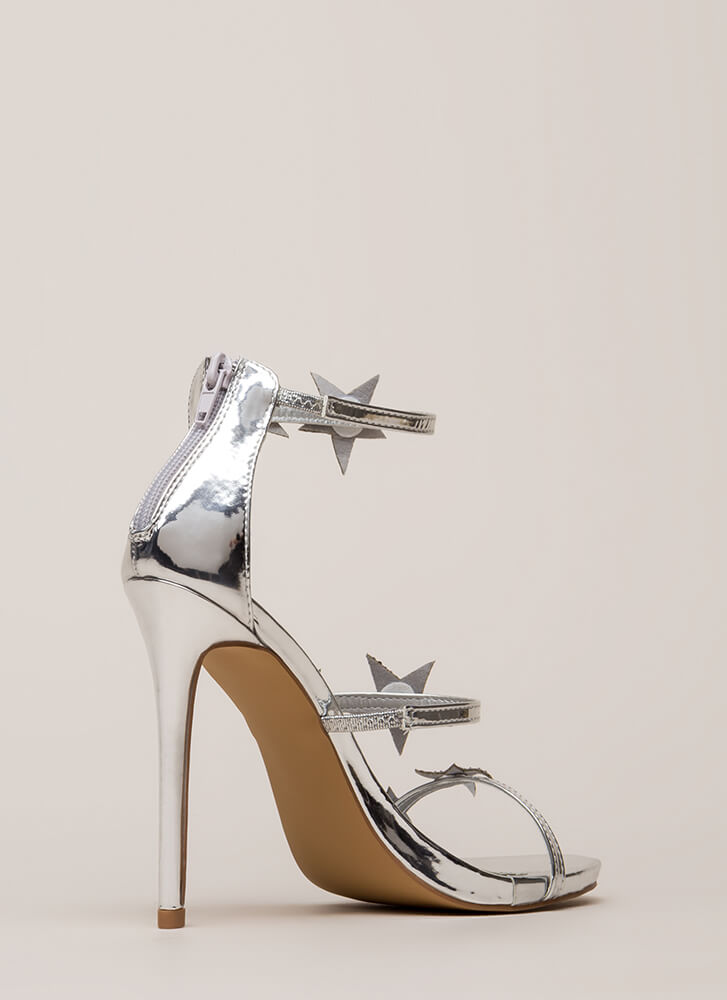 Star-Studded Jeweled Strappy Heels SILVER