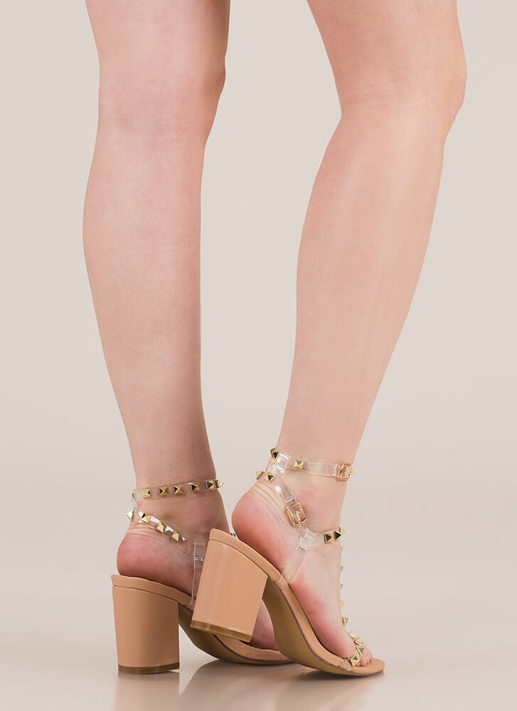 Clearly A Stud Strappy Block Heels NUDE