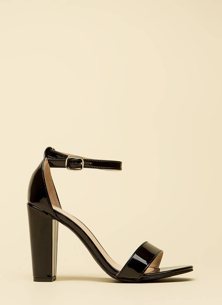 All The Rage Chunky Faux Patent Heels BLACK