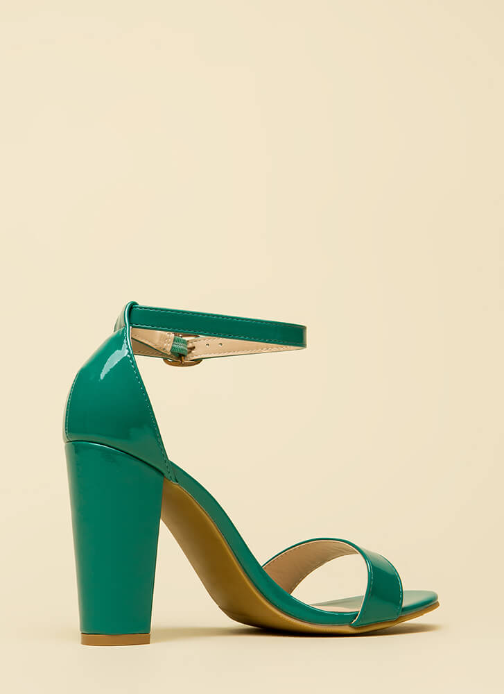 All The Rage Chunky Faux Patent Heels GREEN