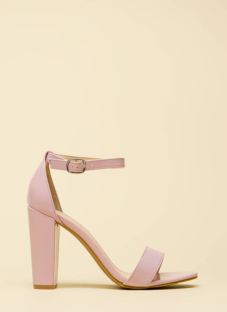 All The Rage Chunky Faux Patent Heels LAVENDER