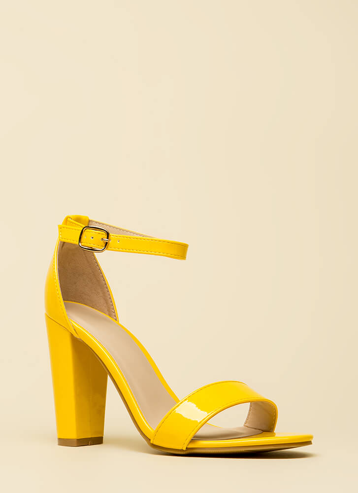 All The Rage Chunky Faux Patent Heels YELLOW