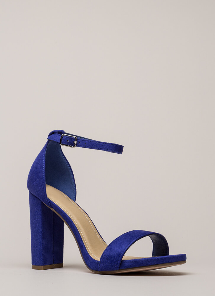 Walk This Way Chunky Ankle Strap Heels ELECTRICBLUE