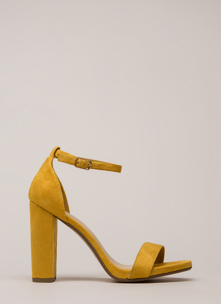 Walk This Way Chunky Ankle Strap Heels MUSTARD