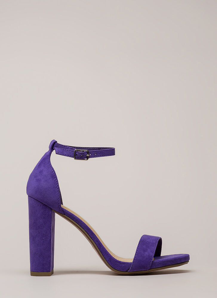 Walk This Way Chunky Ankle Strap Heels VIOLET