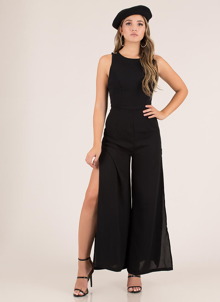 Link Up Chain Strap Palazzo Jumpsuit BLACK
