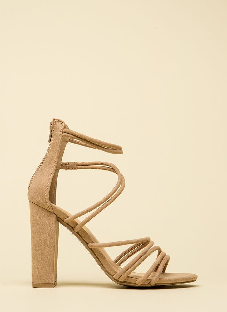 Harmonious Cords Strappy Chunky Heels TAUPE